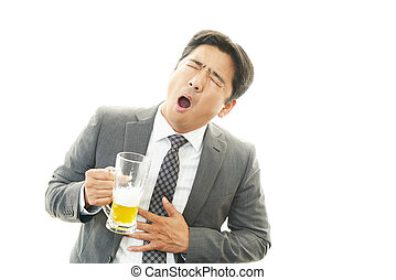 Drunk businessman man with beer - Portrait of a drunken man