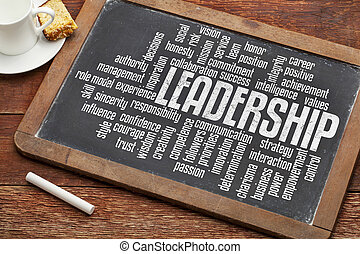 leadership word cloud on a vintage slate blackboard with a...