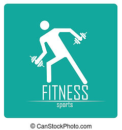 fitness - a white silhouette of a man with some weights