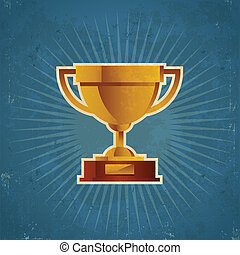 Gold Retro Cup Trophy - Grunge Retro Illustration of gold...