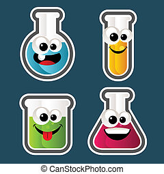 Test Tube Cartoons - Set of test tube and beaker Cartoons