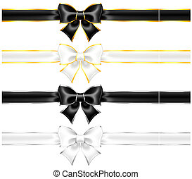 White and black bows with gold and silver edging and ribbons...