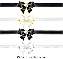 White and black bows with diamonds gold edging and ribbons -...
