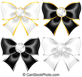 White and black bows with diamonds and gold edging - Vector...