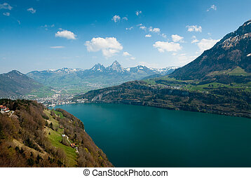 mythen mountains and lake lucern