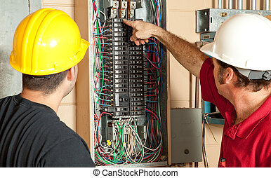 Electricians Replace 20 Amp Breaker - Electricians identify...