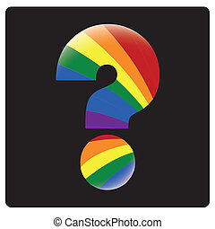 lgbt - a colored question symbol with the lgbt colors