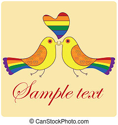 lgbt - a pair of birds with a lgbt heart and text