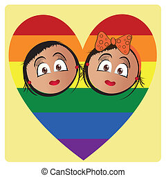 lgbt - a pair of women inside a colored lgbt heart