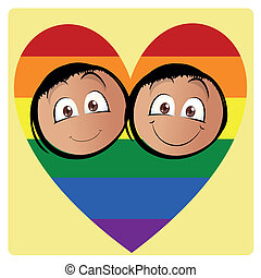 lgbt - a pair of men inside a colored lgbt heart