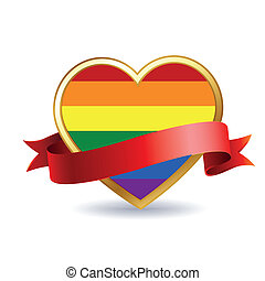 lgbt - a colored lgbt heart with a red ribbon