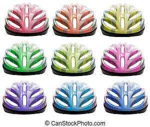 varieties color of bicycle safety helmet isolated on white background