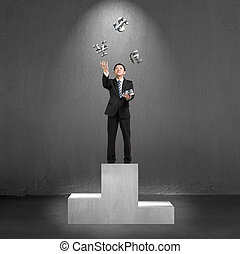 Businessman standing on podium throwing and catching 3D...