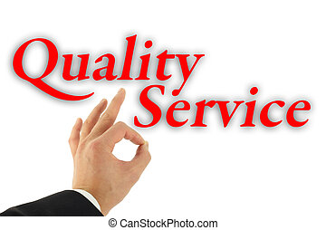 Quality Service Concept - Quality service concept with hand...