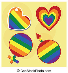 lgbt - four colored lgbt symbols like hearts, man and woman...