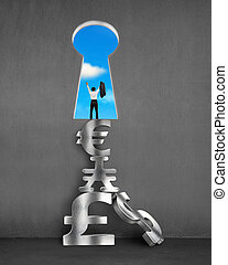 Cheered businessman with key shape door and stack money symbols