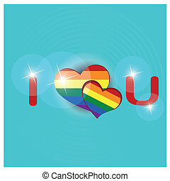 lgbt - a colored lgbt text with some hearts in the middle