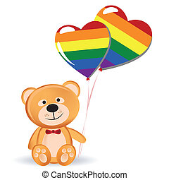 lgbt - a happy teddy bear with a pair of lgbt ballons