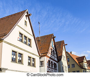 Gable roof of traditional German half-timbered house in...
