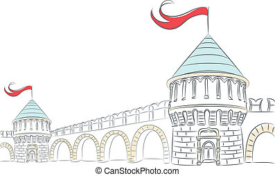 Vector walls and towers of a medieval castle