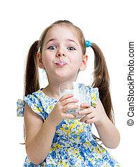 funny child girl drinking yogurt or kefir over white