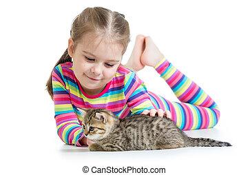幸せ, 子ネコ, ネコ, 女の子, 子供