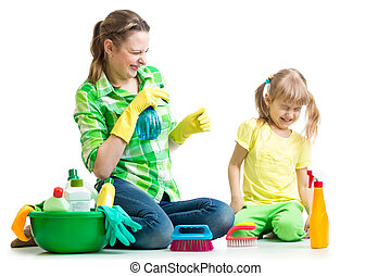 mother with kid clean room having fun