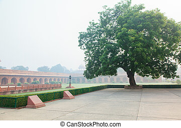Charbagh or Mughal Garden in morning mist