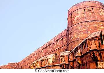 Main wall of Red Ford in Agra, India