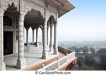 Agra Forth - Balcony in Agra Red Fort, India