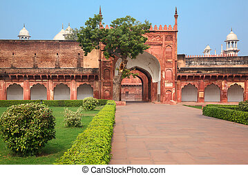 Charbagh or Agra Red Fort in morning mist