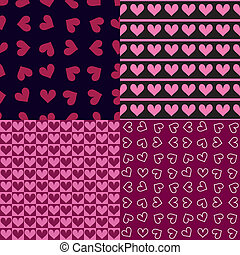 Four seamless patterns with hearts