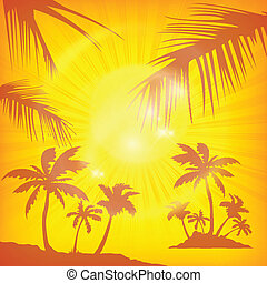 Palms background in yellow