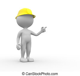 Builder - 3d people - men, person with a hardhat.  Builder