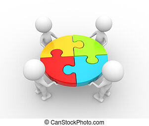 Teamwork - 3d people - men, person and a pieces of puzzle