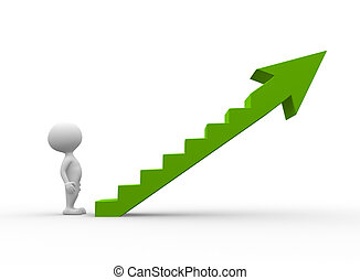 Green ladder - 3d people - men, person climb the ladder of...