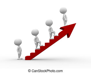 Ladder of success - 3d people - men, person climb the ladder...