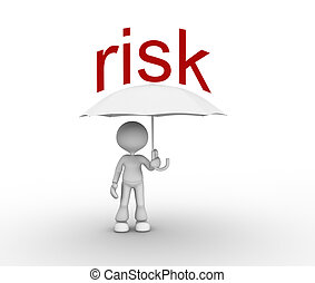 Risk - 3d people - man, person with a umbrella Risk