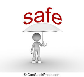 Safe concept - 3d people - man, peson with a umbrella Safe...
