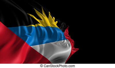 Flag of Antigua and Barbuda - Beautiful 3d animation of the...