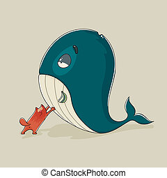 Cute cat with a sickly whale - Cartoon illustration of a...