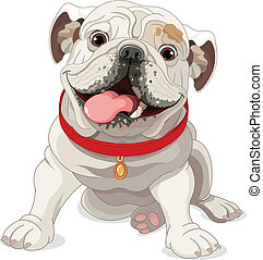 English bulldog - Illustration of English bulldog with red...