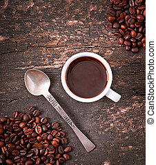 Cup espresso coffee on rustic wooden background