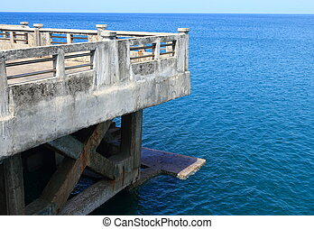 bridge to the sea with clear sky