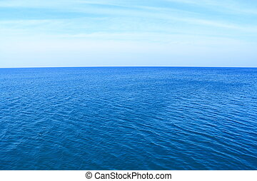 Deep blue sea with clear sky