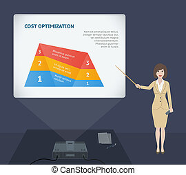 Business woman presentation speech with projector vector...