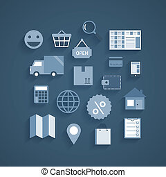 Collection of online shopping pictograms