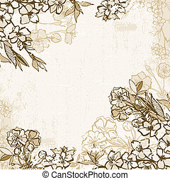 Background frame with blossoming cherry or sakura