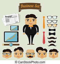 Hipster character elements for business man with...