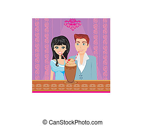 Young couple flirt and drink coffee